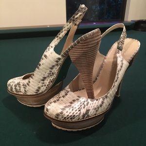 Lisa for Donald Pliner Snake-Print Heels.